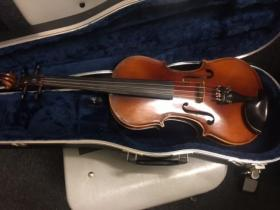 Front view of a Guldan 4/4 violin for sale at adamsmusic.com