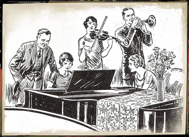 Retro drawing of home band circa 1940s